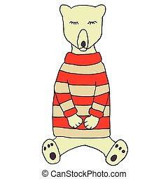 Sleeping bear in a knitted sweater. Vector illustration for poster, card