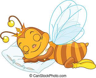 Sleeping bee - An adorable bee sleeping on a pillow