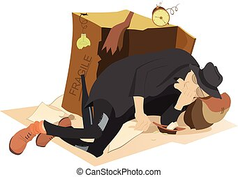 Hungry and chilled man sleeps near a cardboard box and a plate with small change in