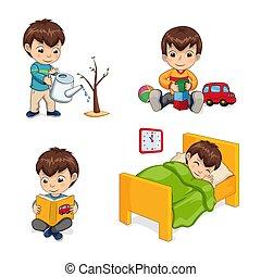 Sleeping Boy Activities Set Vector Illustration