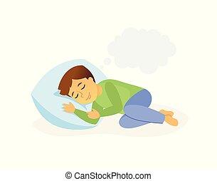 Sleeping boy - cartoon people character isolated illustration