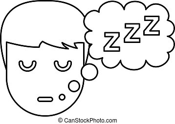 Sleeping boy icon, outline style