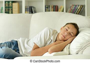 Sleeping boy in room
