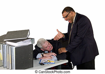 sleeping businessman being caught by angry boss