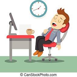 Sleeping businessman. Vector flat illustration