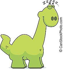 Sleeping Cartoon Apatosaurus - A cartoon illustration of a...