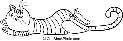 Cartoon Illustration of Funny Sleeping Tabby Cat for Coloring Book