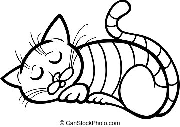 sleeping cat cartoon for coloring - Cartoon Illustration of...