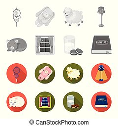 Sleeping cat, night outside the window, milk and biscuits, fairy tales. Rest and sleep set collection icons in monochrome, flat style vector symbol stock illustration web.