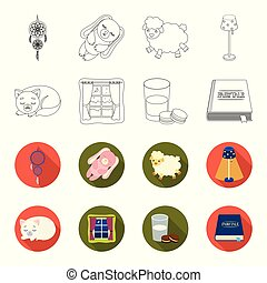 Sleeping cat, night outside the window, milk and biscuits, fairy tales. Rest and sleep set collection icons in outline, flet style vector symbol stock illustration web.