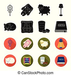 Sleeping cat, night outside the window, milk and biscuits, fairy tales. Rest and sleep set collection icons in black, flet style vector symbol stock illustration web.