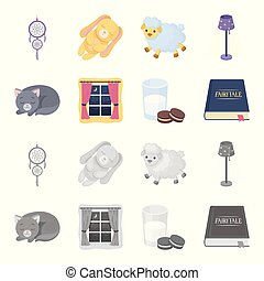 Sleeping cat, night outside the window, milk and biscuits, fairy tales. Rest and sleep set collection icons in cartoon, monochrome style vector symbol stock illustration web.