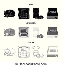 Sleeping cat, night outside the window, milk and biscuits, fairy tales. Rest and sleep set collection icons in black, monochrome, outline style vector symbol stock illustration web.