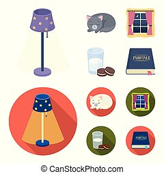 Sleeping cat, night outside the window, milk and biscuits, fairy tales. Rest and sleep set collection icons in cartoon, flat style vector symbol stock illustration web.