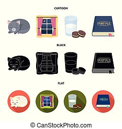 Sleeping cat, night outside the window, milk and biscuits, fairy tales. Rest and sleep set collection icons in cartoon, black, flat style vector symbol stock illustration web.
