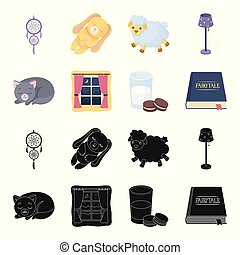 Sleeping cat, night outside the window, milk and biscuits, fairy tales. Rest and sleep set collection icons in black, cartoon style vector symbol stock illustration web.