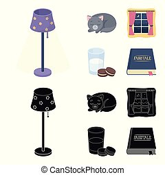 Sleeping cat, night outside the window, milk and biscuits, fairy tales. Rest and sleep set collection icons in cartoon, black style vector symbol stock illustration web.