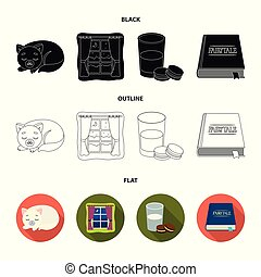 Sleeping cat, night outside the window, milk and biscuits, fairy tales. Rest and sleep set collection icons in black, flat, outline style vector symbol stock illustration web.