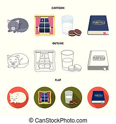 Sleeping cat, night outside the window, milk and biscuits, fairy tales. Rest and sleep set collection icons in cartoon, outline, flat style vector symbol stock illustration web.