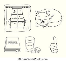 Sleeping cat, night outside the window, milk and biscuits, fairy tales. Rest and sleep set collection icons in outline style vector symbol stock illustration web.
