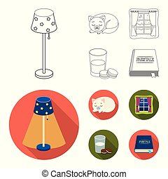Sleeping cat, night outside the window, milk and biscuits, fairy tales. Rest and sleep set collection icons in outline, flat style vector symbol stock illustration web.