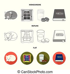 Sleeping cat, night outside the window, milk and biscuits, fairy tales. Rest and sleep set collection icons in flat, outline, monochrome style vector symbol stock illustration web.