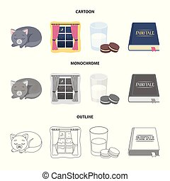 Sleeping cat, night outside the window, milk and biscuits, fairy tales. Rest and sleep set collection icons in cartoon, outline, monochrome style vector symbol stock illustration web.