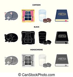 Sleeping cat, night outside the window, milk and biscuits, fairy tales. Rest and sleep set collection icons in cartoon, black, monochrome style vector symbol stock illustration web.