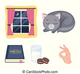 Sleeping cat, night outside the window, milk and biscuits, fairy tales. Rest and sleep set collection icons in cartoon style vector symbol stock illustration web.