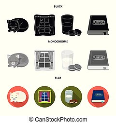 Sleeping cat, night outside the window, milk and biscuits, fairy tales. Rest and sleep set collection icons in black, flat, monochrome style vector symbol stock illustration web.