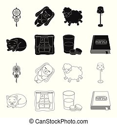 Sleeping cat, night outside the window, milk and biscuits, fairy tales. Rest and sleep set collection icons in black, outline style vector symbol stock illustration .