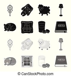 Sleeping cat, night outside the window, milk and biscuits, fairy tales. Rest and sleep set collection icons in black, monochrome style vector symbol stock illustration .