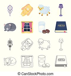 Sleeping cat, night outside the window, milk and biscuits, fairy tales. Rest and sleep set collection icons in cartoon, outline style vector symbol stock illustration web.