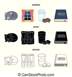 Sleeping cat, night outside the window, milk and biscuits, fairy tales. Rest and sleep set collection icons in cartoon, black, outline style vector symbol stock illustration web.