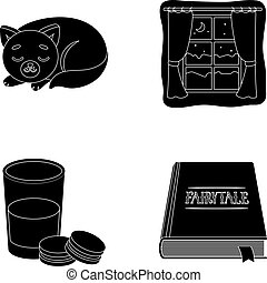 Sleeping cat, night outside the window, milk and biscuits, fairy tales. Rest and sleep set collection icons in black style vector symbol stock illustration web.