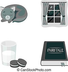 Sleeping cat, night outside the window, milk and biscuits, fairy tales. Rest and sleep set collection icons in monochrome style vector symbol stock illustration web.