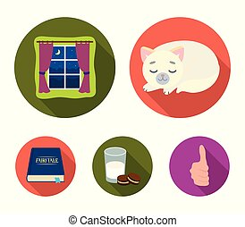 Sleeping cat, night outside the window, milk and biscuits, fairy tales. Rest and sleep set collection icons in flat style vector symbol stock illustration web.