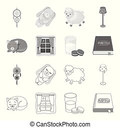Sleeping cat, night outside the window, milk and biscuits, fairy tales. Rest and sleep set collection icons in outline, monochrome style vector symbol stock illustration web.