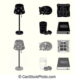 Sleeping cat, night outside the window, milk and biscuits, fairy tales. Rest and sleep set collection icons in black, monochrome style vector symbol stock illustration web.