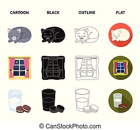 Sleeping cat, night outside the window, milk and biscuits, fairy tales. Rest and sleep set collection icons in cartoon, black, outline, flat style vector symbol stock illustration web.