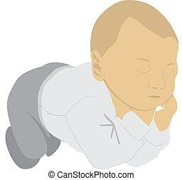 sleeping child dreaming - illustration