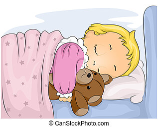 Illustration of a Cute Kid Hugging Her Stuffed Toy While Sleeping