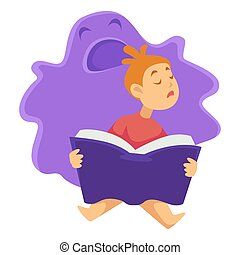 Sleeping child with book and imaginary monster isolated character