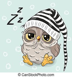 Sleeping cute Owl - Sleeping cute owl in a hood on a blue...