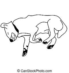 Sleeping dog outline. Isolated vector illustration