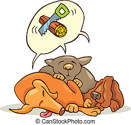 Sleeping dogs - Cartoon illustration of three dogs sleeping
