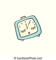 Sleeping doodle alarm clock with closed eyes cartoon vector illustration isolated.
