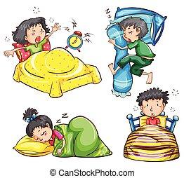 Sleeping - Illustration of children sleeping and waking up