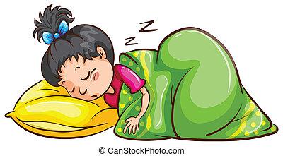 Sleeping - Illustration of a girl sleeping