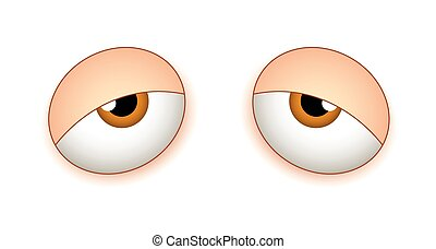 Sleeping Eyes - Lazy Sleepy Cartoon Comic Eyes Expression...